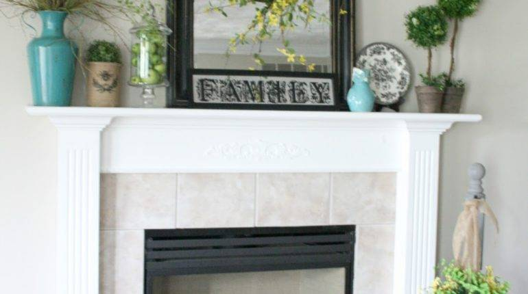 Chic Shoestring Decorating Summer Mantel Featuring