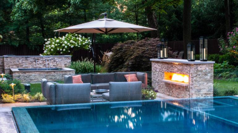 Vanishing Edge Pool Patio Fireplace Modern New